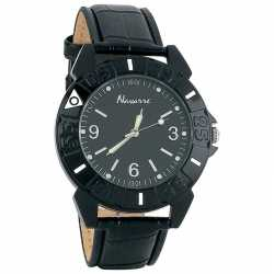 Navarre™ Men's Quartz Watch BLACK MENS QUARTZ WATC