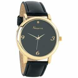 Navarre™ Men's Quartz Diamond Watch MENS BLACK